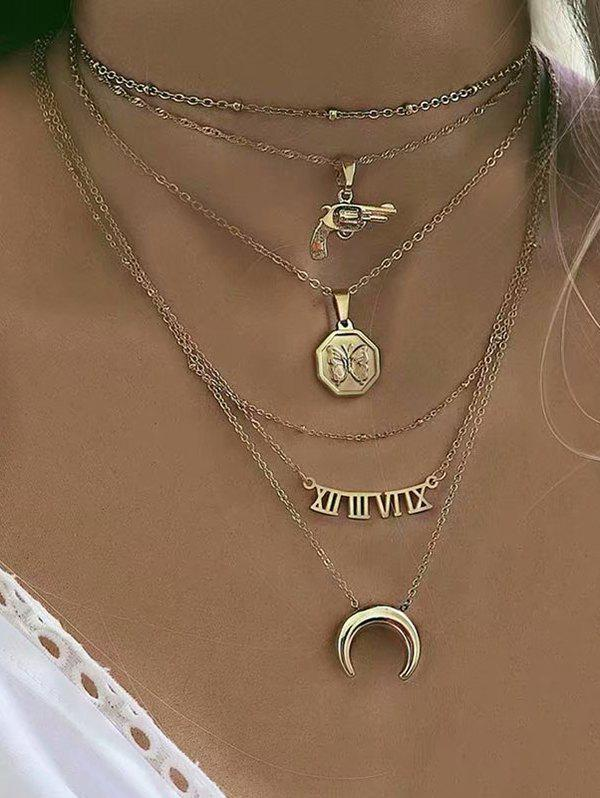 Moon Gun Letter Pendant Multilayered Necklace, Gold