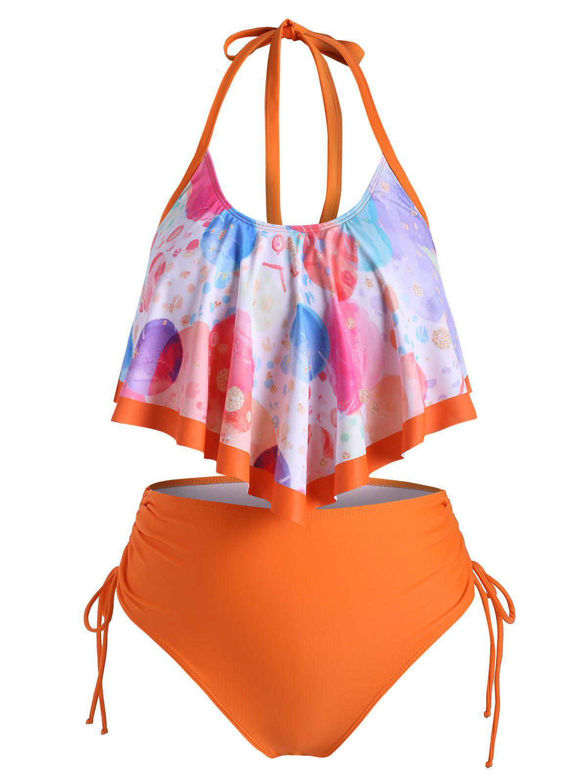 Trendy Overlay Flounces Funny Planet Cinched Side Plus Size Tankini Swimsuit