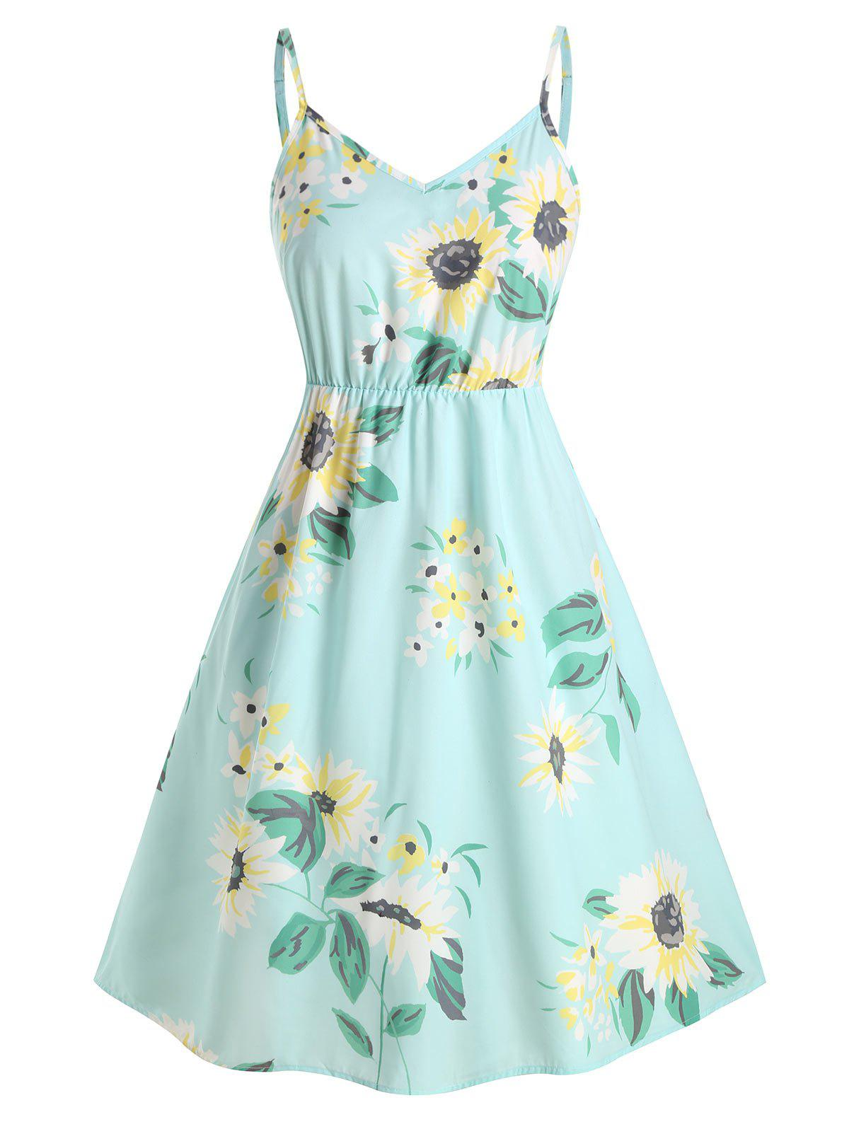 Plus Size Smocked Sunflower Print Midi Dress фото
