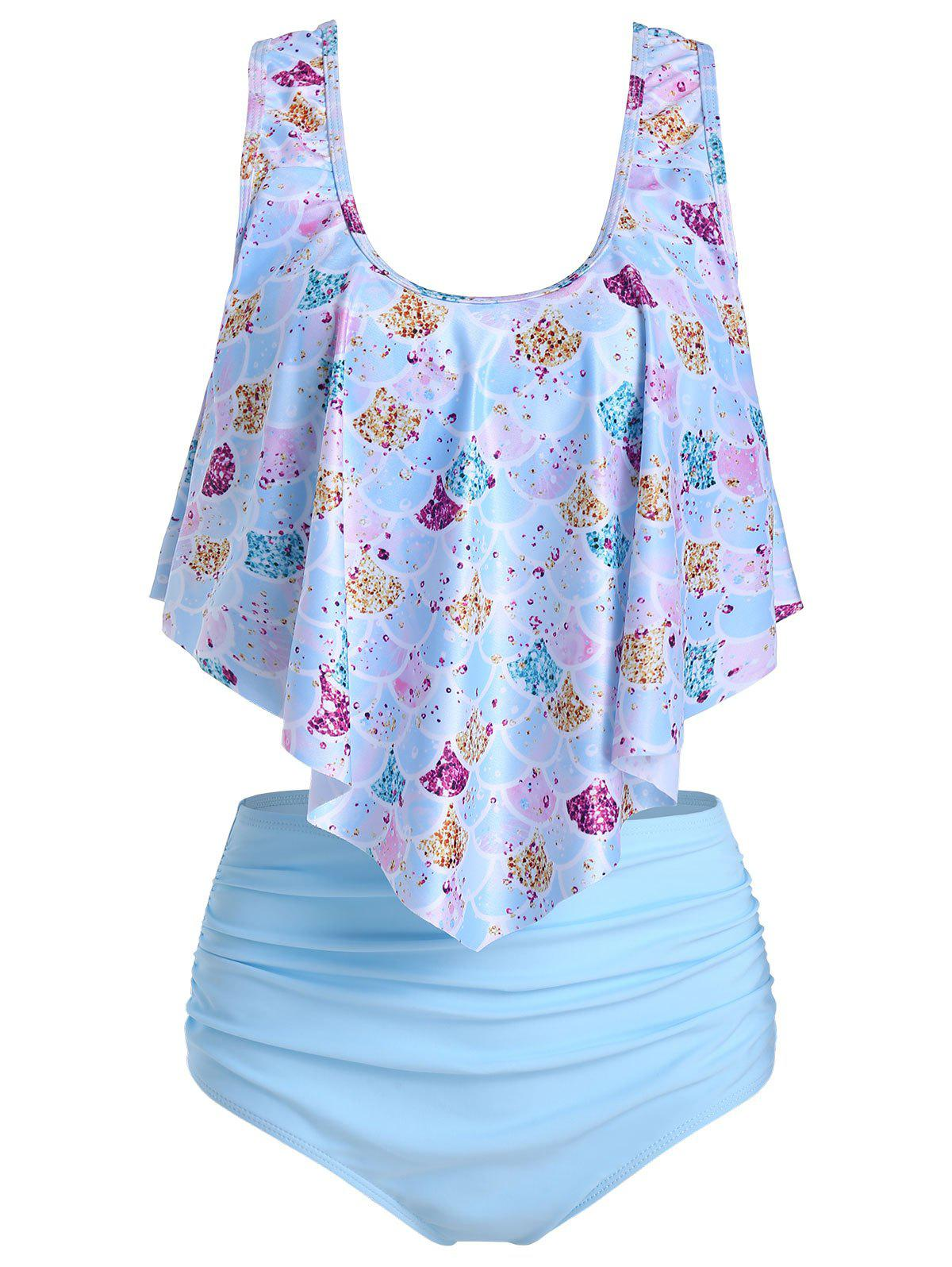 New Mermaid Print High Waisted Asymmetrical Tankini Swimsuit