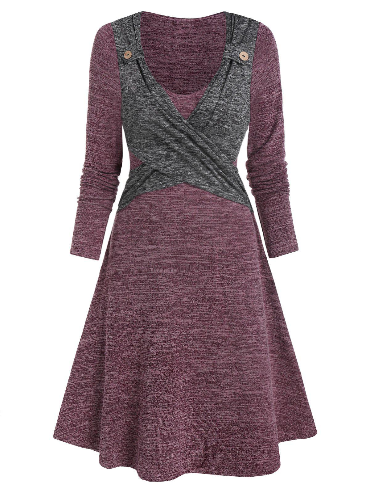Affordable Long Sleeve Contrast Heathered Crossover Dress
