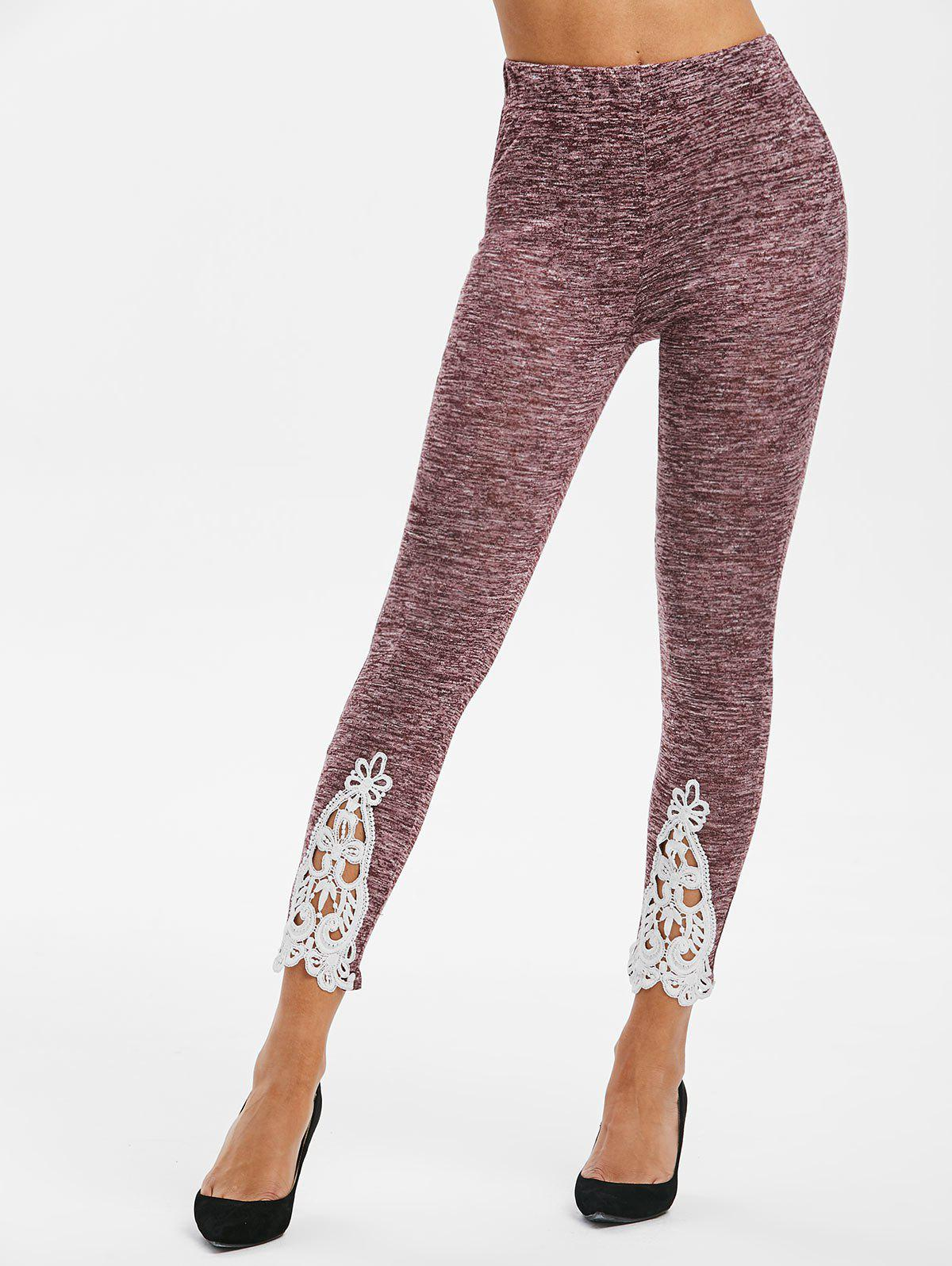 New Lace Insert High Waisted Heathered Leggings