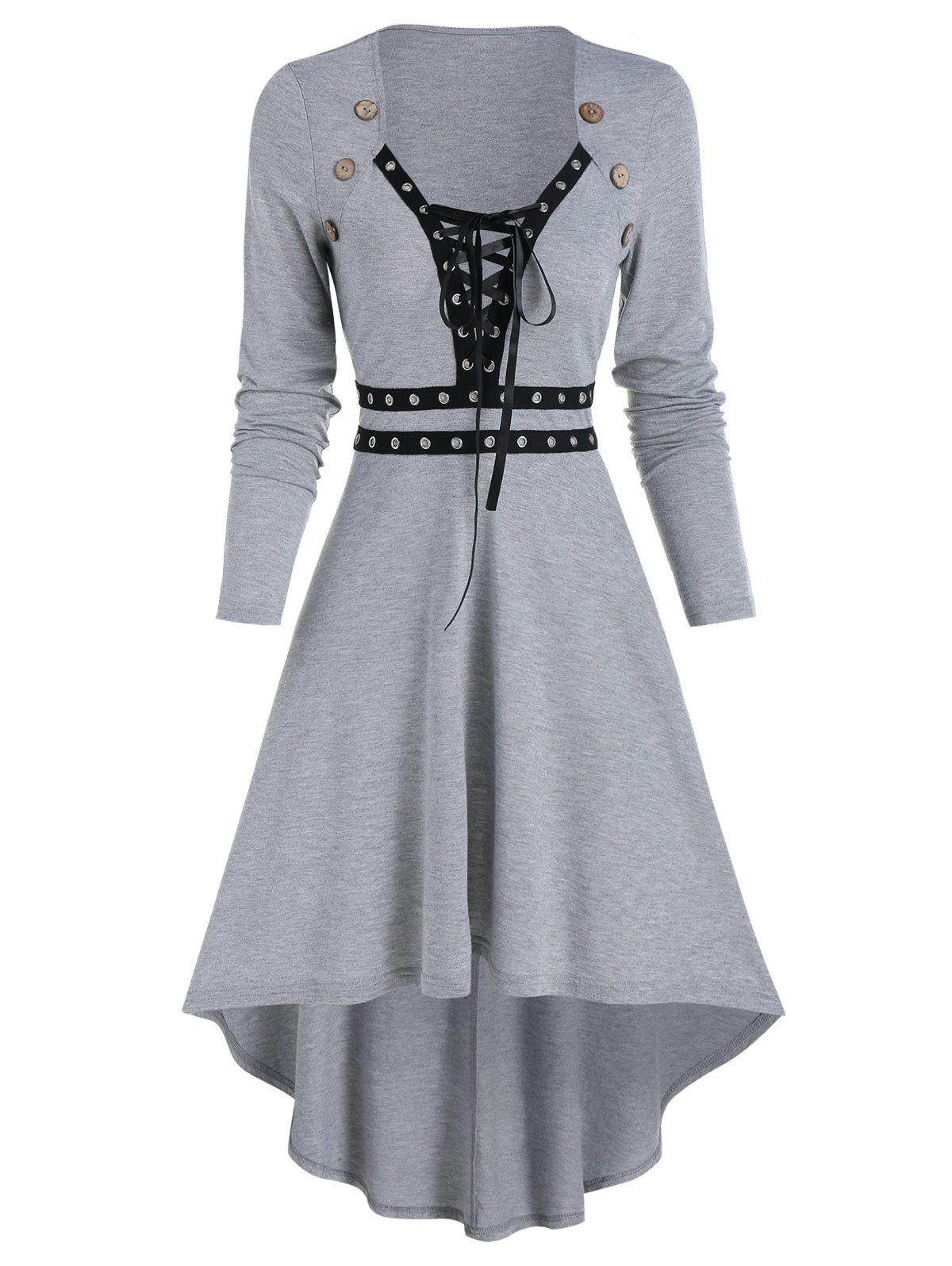 Affordable Mock Button Lace-up Grommet High Low Dress