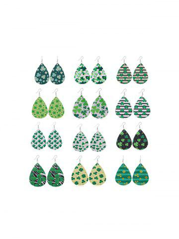 12Pairs Water Drop Clover Earrings Set