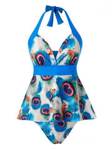 Plus Size Peacock Feather Halter Ruched Tankini Swimwear