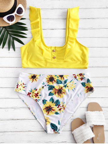 Buttoned Ruffles Sunflower Plus Size Bikini Swimsuit - YELLOW - 5X