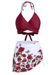 Butterfly and Flower Print Wrap Cinched Bikini Swimsuit -
