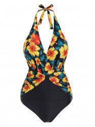 Halter Floral Bow One-piece Swimsuit -