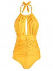 Halter Ruched Keyhole One-piece Swimsuit -