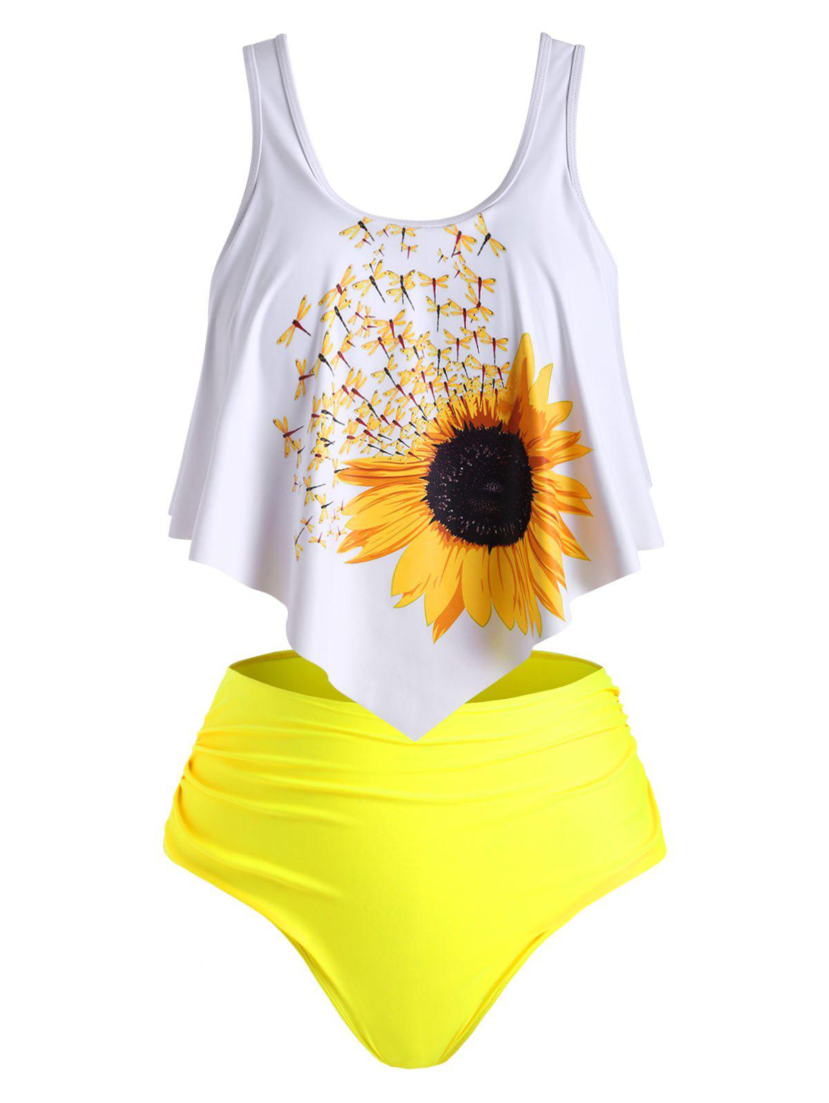 Affordable Overlay Flounces Ruched Sunflower Plus Size Tankini Swimsuit