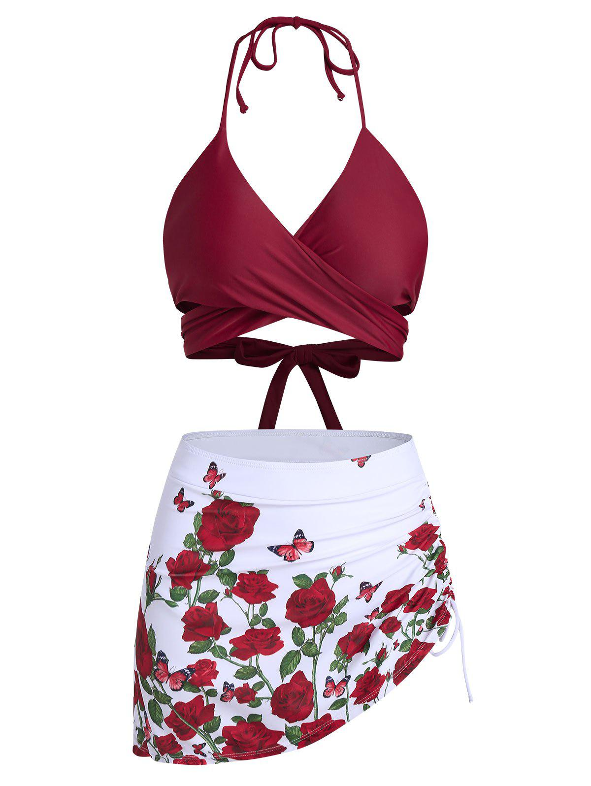 Trendy Butterfly and Flower Print Wrap Cinched Bikini Swimsuit