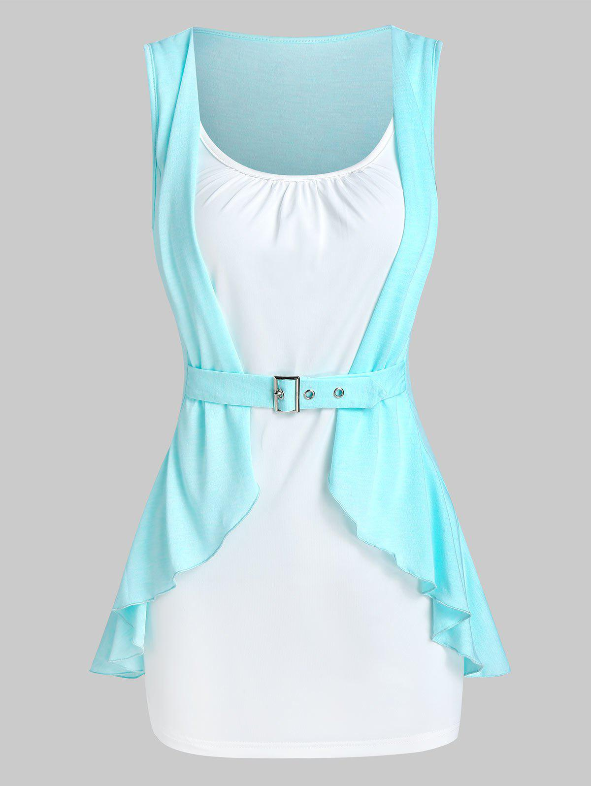 Chic Colorblock Buckle Ruffled Tank Top