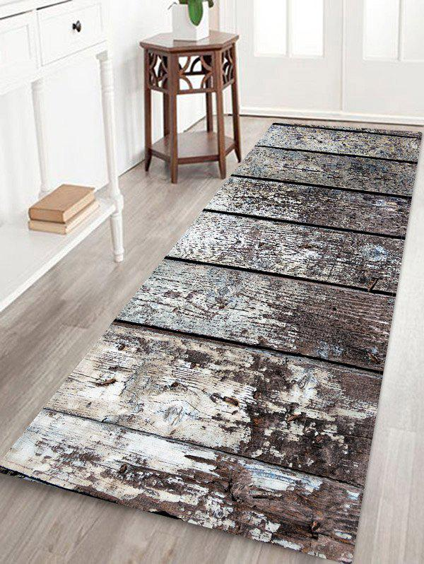 Shop Retro Wood Grain Print Antiskid Floor Mat
