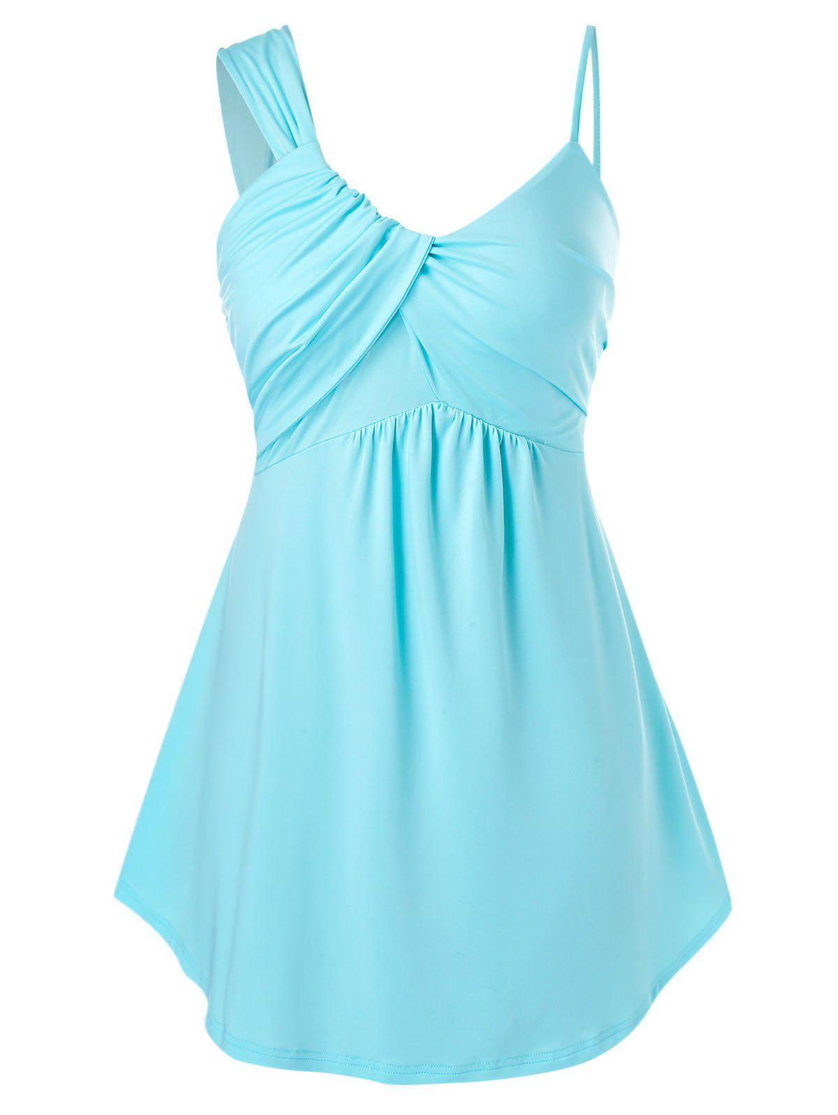 Latest Ruched Plus Size Asymmetric Cami Tank Top