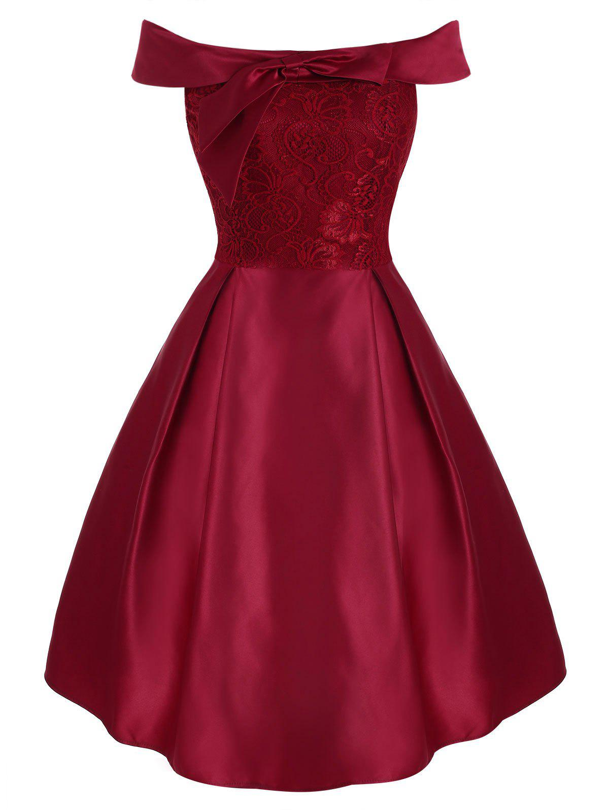 New Lace Panel Off Shoulder Bowknot Party Dress