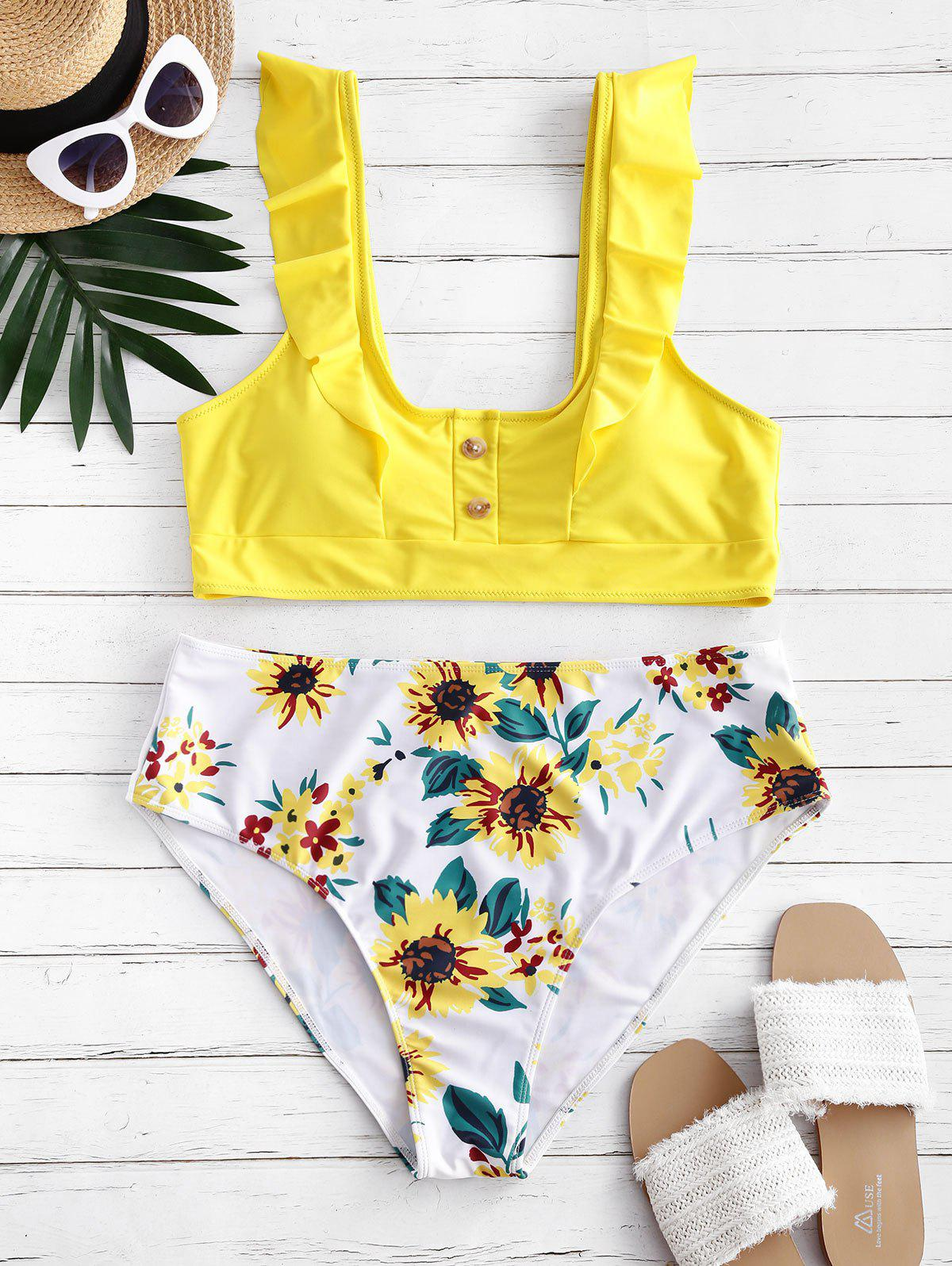Discount Buttoned Ruffles Sunflower Plus Size Bikini Swimsuit