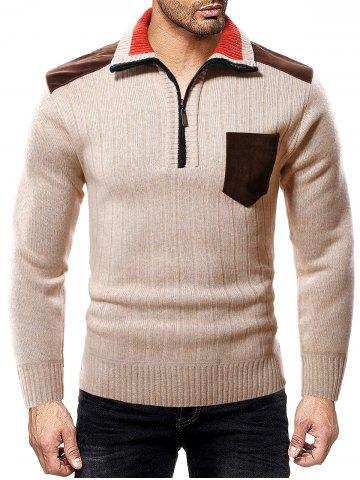 Color Spliced Pocket Casual Sweater - KHAKI - L