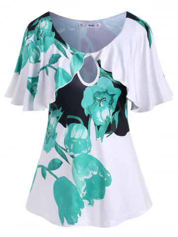 Plus Size Keyhole Flutter Sleeve Floral Print T Shirt - LIGHT SEA GREEN - 1X