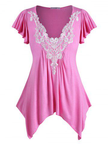 Plus Size Flutter Sleeve Contrast Lace Handkerchief T Shirt - BLUSH RED - 2X