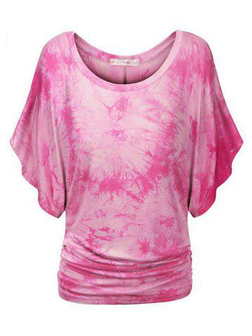Plus Size Tie Dye Ruched Batwing Sleeve Top - NEON PINK - 2X