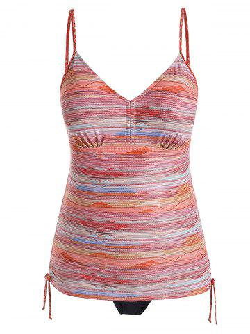 Plus Size Cinched Ruched Striped Tankini Swimsuit - ORANGE - L