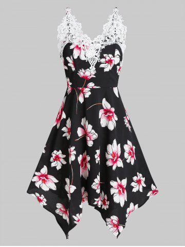 Flower Print Lace Insert Sleeveless Handkerchief Dress