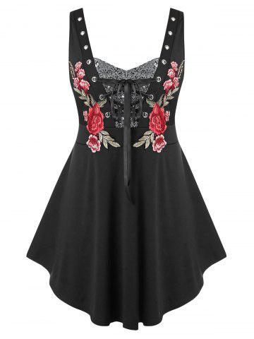 Plus Size Embroidered Lace Up Sequin Tank Top