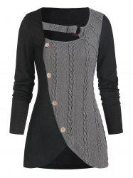 Cable Knit Mock Button O-ring Ribbed Contrast Sweater -