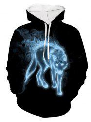 Ethnic Wolf Pattern Pouch Pocket Hoodie -