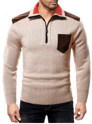 Color Spliced Pocket Casual Sweater -