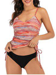 Striped Cinched Padded Tankini Set -