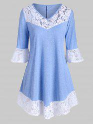 Plus Size V Neck Lace Panel Tunic Top -