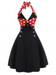 Polka Dot Halter Mock Button Vintage Dress -