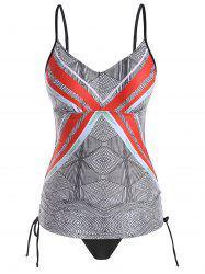 Plus Size Geo Print Side Cinched Tankini Swimsuit -