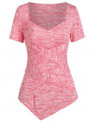Asymmetric Crossover Marled T Shirt -
