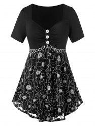 Plus Size Flower Button Embellished Sweetheart T-shirt -