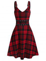 Plaid Buckles Eyelet Lace Up Dress -