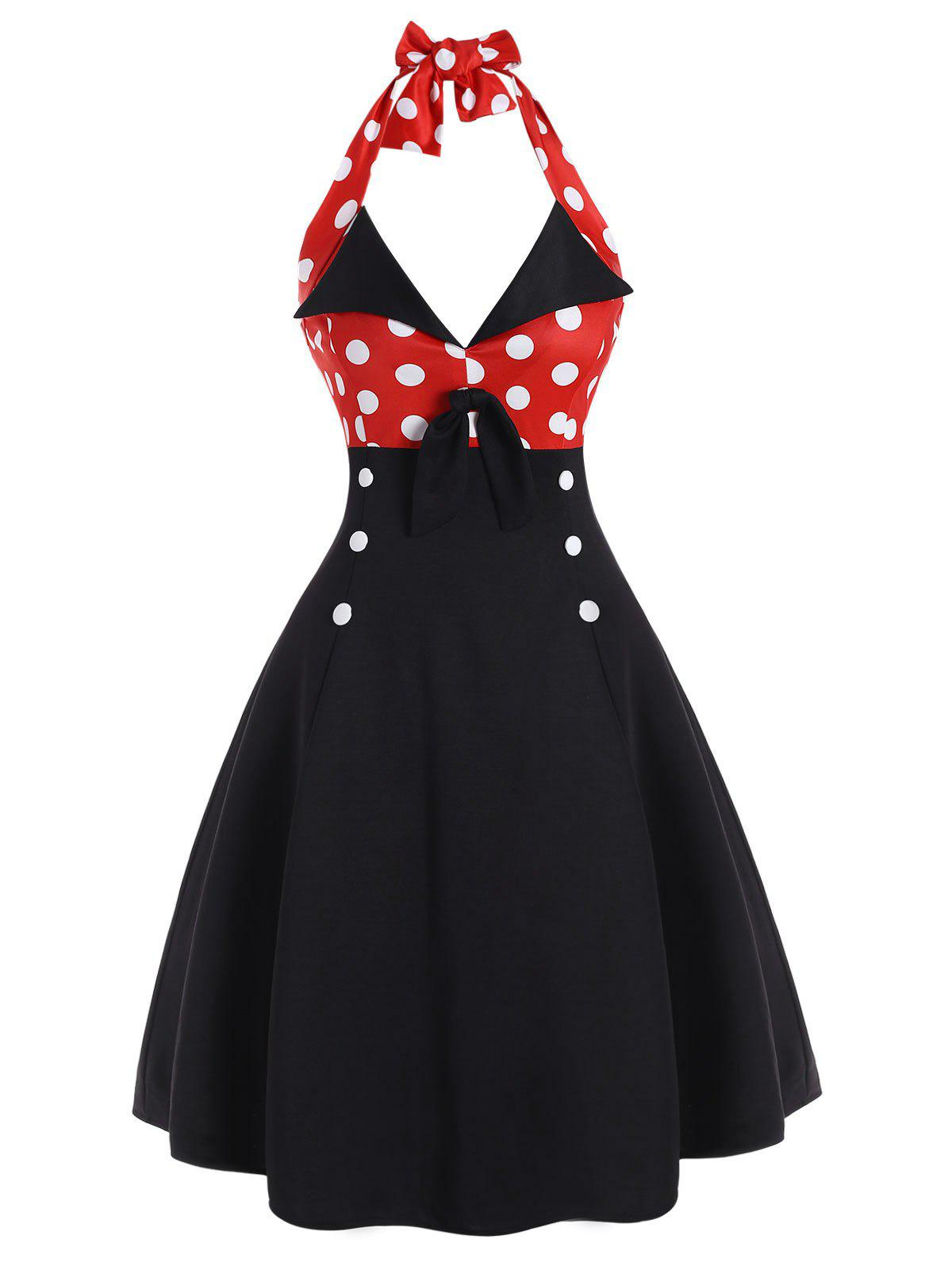 Affordable Polka Dot Halter Mock Button Vintage Dress