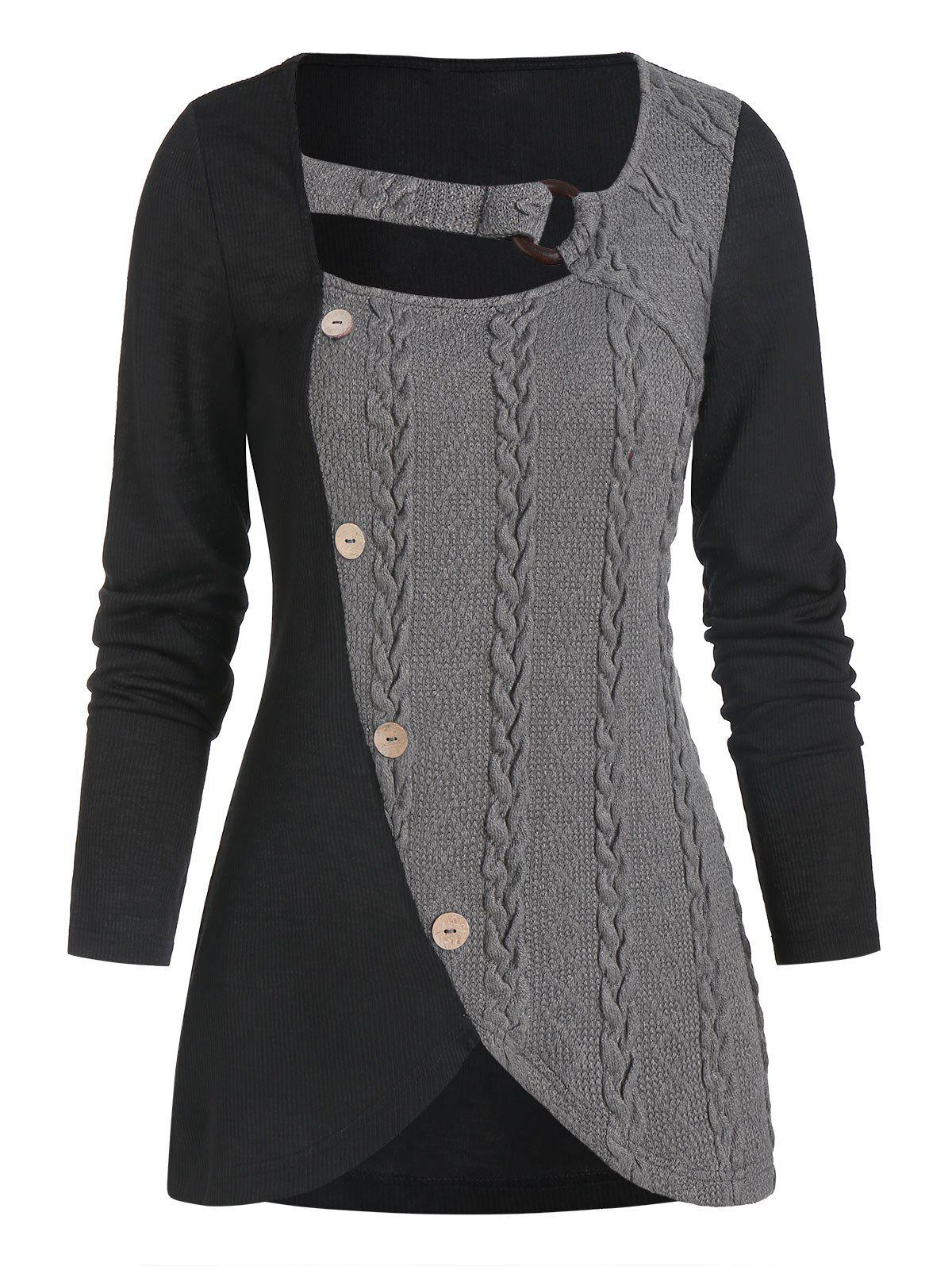 Hot Cable Knit Mock Button O-ring Ribbed Contrast Sweater