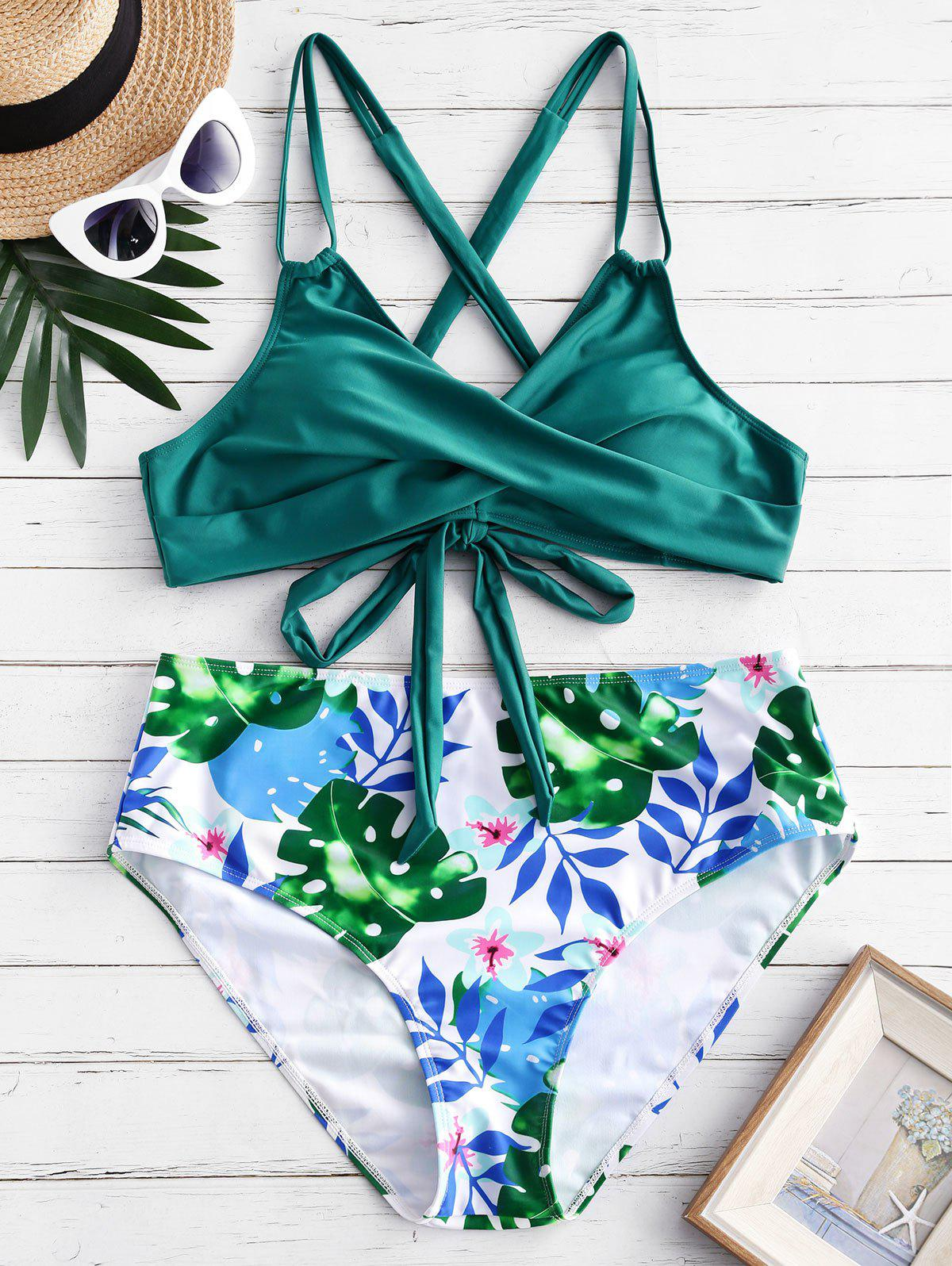 Outfits Criss Cross Lace Up Leaves Print Plus Size Bikini Swimsuit