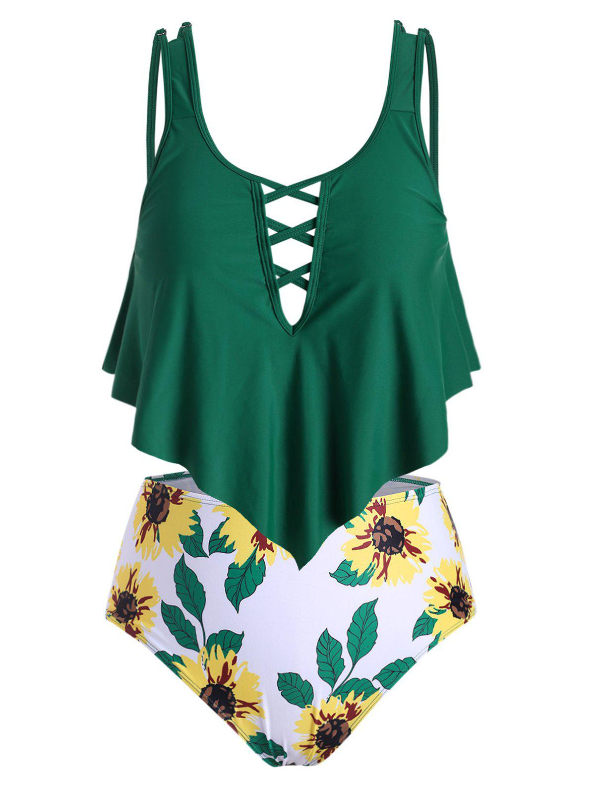 Plus Size Sunflower Print Crisscross Ruffle Tankini Swimsuit Rosegal