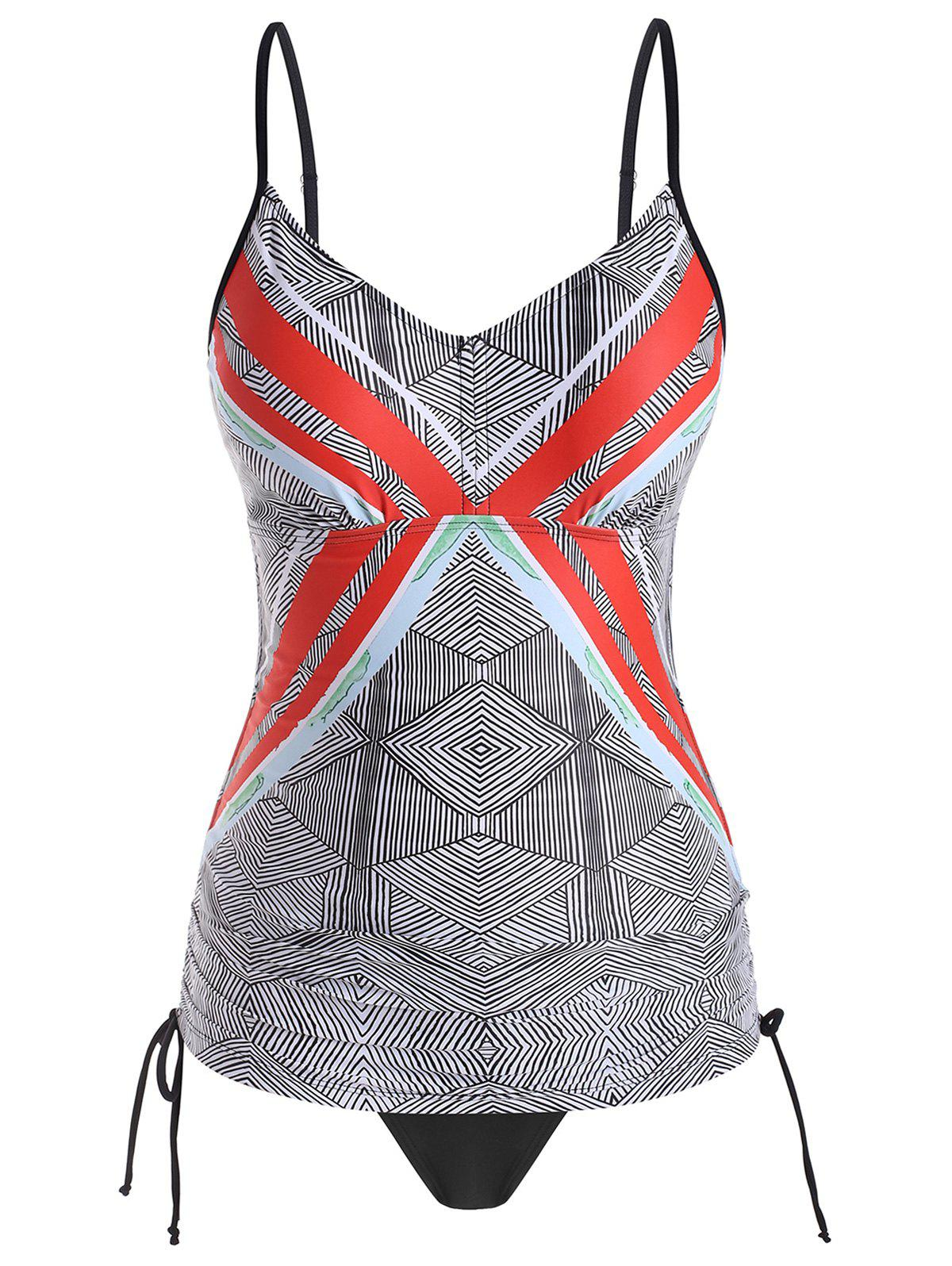 Best Plus Size Geo Print Side Cinched Tankini Swimsuit