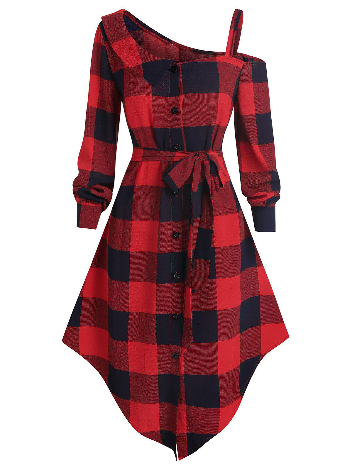 New Skew Neck Plaid Asymmetric Dress