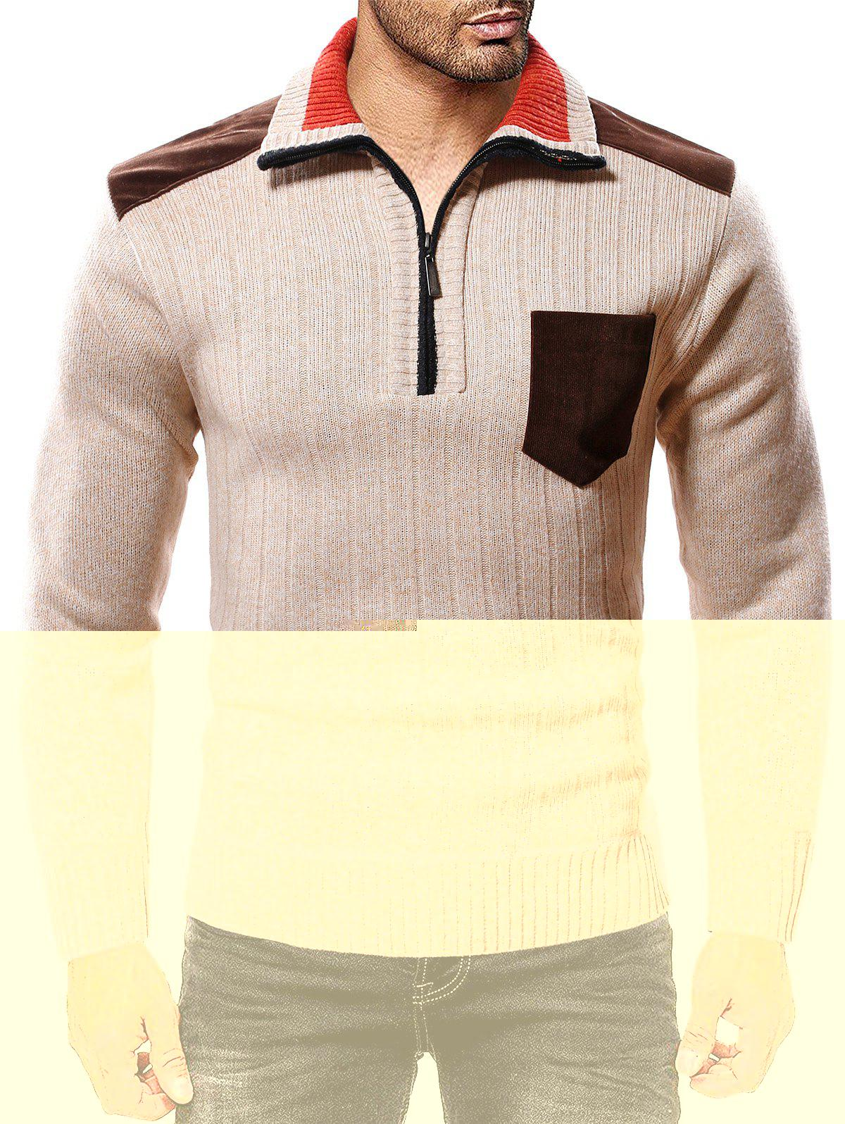 Outfit Color Spliced Pocket Casual Sweater
