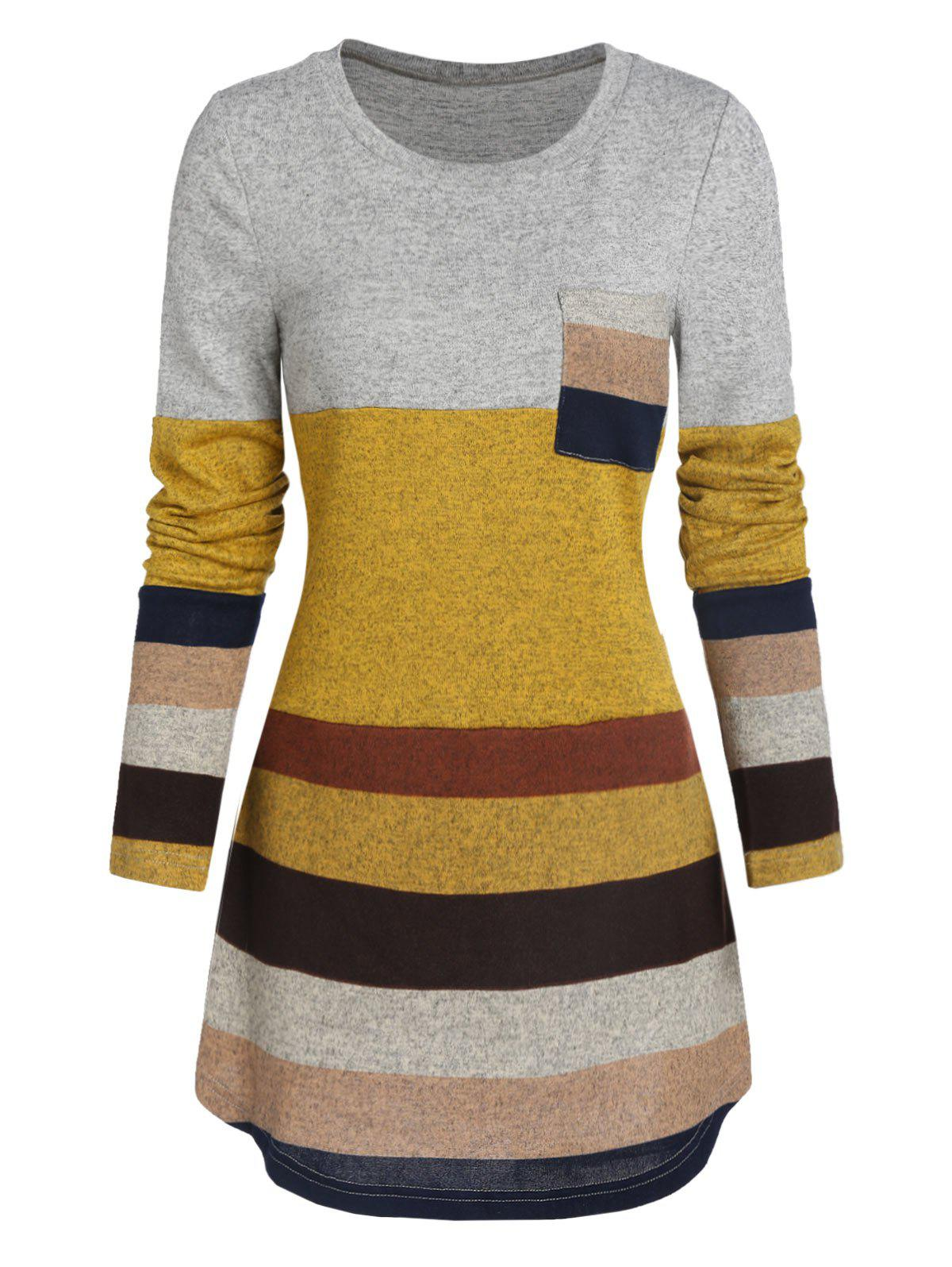 Outfit Pocket Colorblock Heathered T Shirt