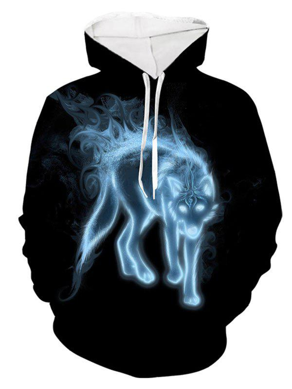 Cheap Ethnic Wolf Pattern Pouch Pocket Hoodie