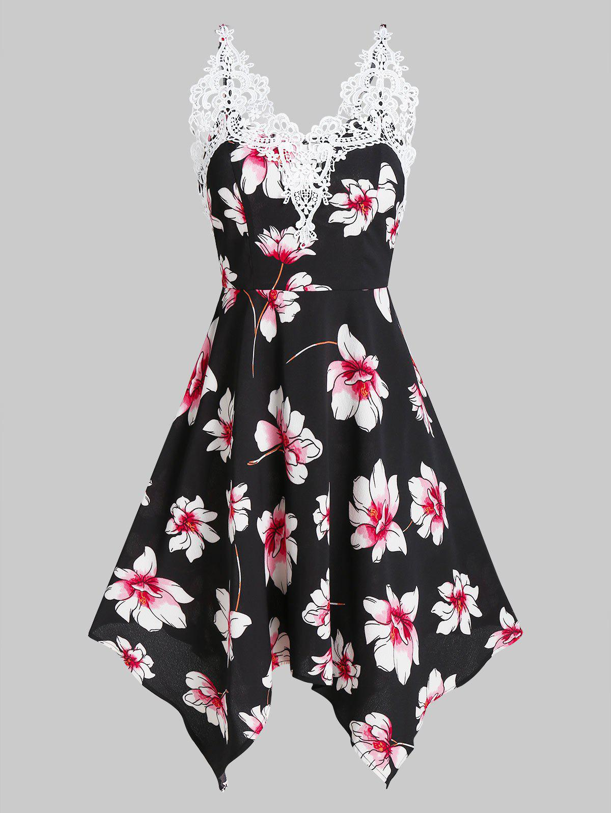 Affordable Flower Print Lace Insert Sleeveless Handkerchief Dress