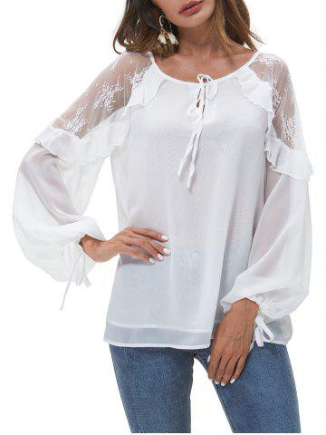 Lace Panel Lantern Sleeve Knotted Layered Blouse - WHITE - S