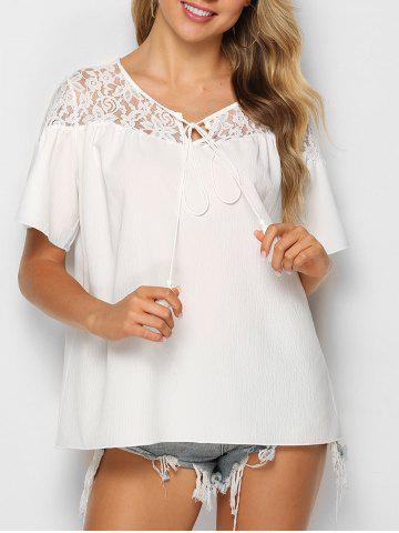 Flower Lace Insert Knotted Tasseled Blouse - WHITE - L