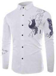Chinese Animal Graphic Button Up Long Sleeve Shirt -